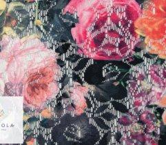 Koronka plen antracytowy ażur drukowane kolorowe kwiaty 160 cm
