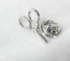 Przypinka, wpinka, pin nożyczki srebrne metalowe