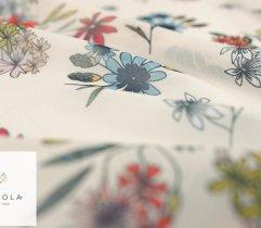 Szyfon kolorowe kwiaty na beżowym tle