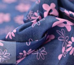 Jeans cienki kwiatki różowe