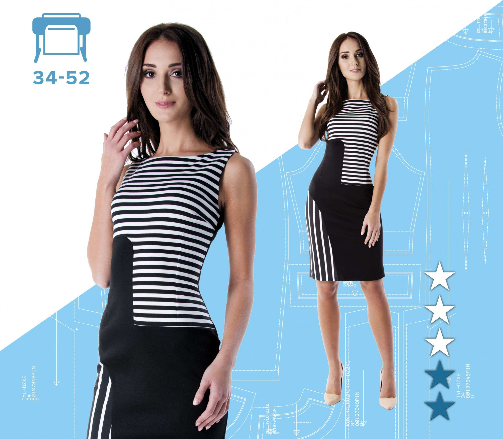 43351549 Sukienka Magdalena 34-52 wydruk wielkoformatowy | Pinsola