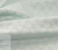 Woven reversible Jacquard  - mint flowers