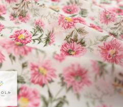 Szyfon różowe kwiaty na białym tle