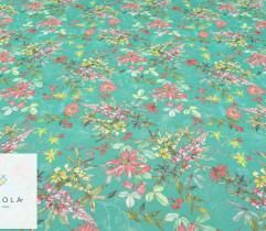 Szyfon malowane kwiaty zielone tło
