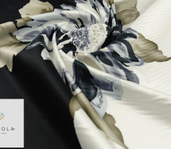 Cotton-satin, border with floral pattern