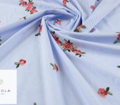 Tkanina haftowana kwiaty blue