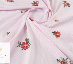Tkanina haftowana kwiaty pink