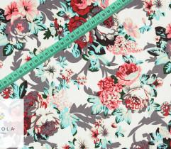 Bawełna satyna różowe i trukusowe kwiaty na ecru