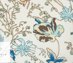 Tkanina jeansowa błękitne kwiaty na jasnym tle