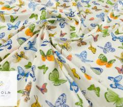 Tkanina jeansowa motyle na jasnym tle
