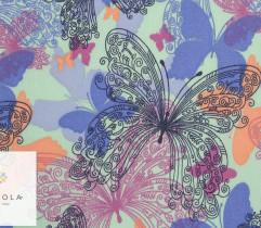 Tkanina jeansowa motyle na seledynowym tle