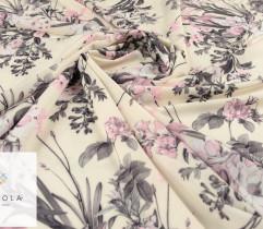 Silki kompozycja różowych kwiatów na kremowym tle