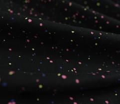 Dresówka pętelka czarna neonowe różowe kropki