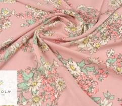 Wiskoza jasne kwiaty na różowym tle