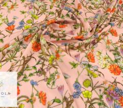 Silki kolorowa łąka na łososiowym tle