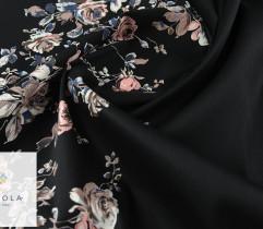 Bawełna satyna różowe kwiaty na czarnym