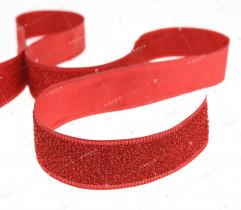 Tasiemka dekoracyjna z mieniąca nitką czerwona