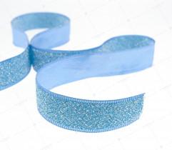 Tasiemka dekoracyjna z mieniącą nitką niebieska