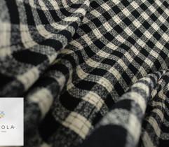 Boucle płaszczowe czarno biała krata
