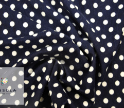 Knitted Punto navy blue, white polka dots  - 0,5cm