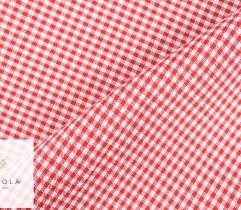 Tkanina obrusowa czerwona kratka