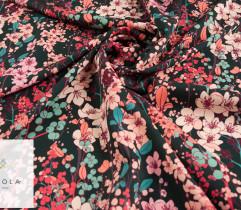 Marchiano, barbie różowe i czerwone kwiaty na ciemnym tle