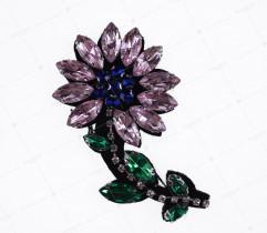 Naszywka kwiat ozdobne kamienie (2606)