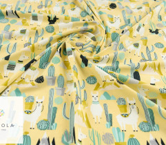Jersey single lamy i kaktusy na żółtym