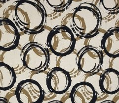 Knitted viscose - beige shapes - circles
