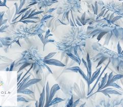 Szyfon niebieskie kwiaty na białym (2748)