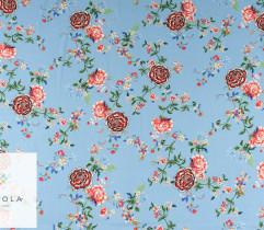 Wiskoza czerwone kwiaty na błękicie (2757)