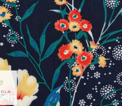 Viscose, colorful flowers on navy (2756)