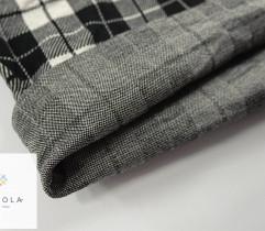 Dzianina Żakardowa rękaw 70 cm - Krata czarno-biała