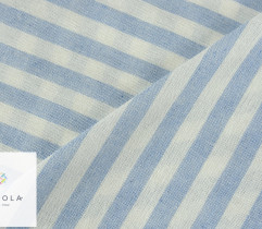 Tkanina o lnianej strukturze - paski 1 cm biel - błękit (len) (2772)