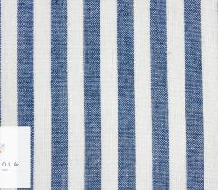 Tkanina o lnianej strukturze - paski 1 cm blue (len)