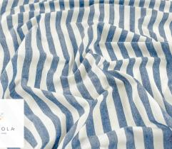 Tkanina o strukturze lnianej - paski 1,5 cm blue (len)