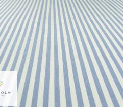 Tkanina o lnianej strukturze - paski 1,5 cm biel - błękit (len) (2764)