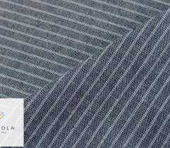 Tkanina o lnianej strukturze - paski białe na navy (len) (2769)