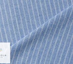 Tkanina o lnianej strukturze - paski białe na niebieskim (len) (2768)