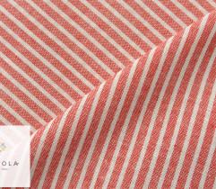 Tkanina o lnianej strukturze - paski drobne biało-czerwone (2767)
