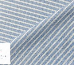 Tkanina o lnianej strukturze - paski drobne blue (len)