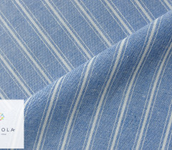 Tkanina o lnianej strukturze - podwójne paski na niebieskim (2774)