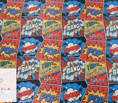 Woven polyester boom-bang comics