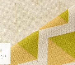 Tkanina o lnianej strukturze trójkąty zielono-żółte