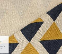 Tkanina o lnianej strukturze trójkąty żółto-granatowe