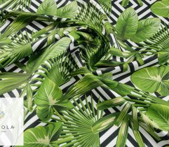 Woven microfibre towel fabric - leaves and black pattern