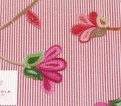 Tkanina haftowana: duże kwiaty - czerwony