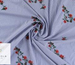 Tkanina haftowana: duże i małe kwiaty - indygo