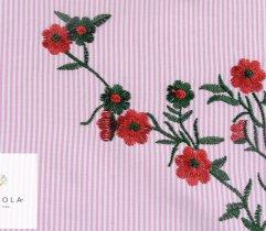 Tkanina haftowana: duże i małe kwiaty - ciemny róż
