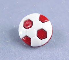 Guzik dziecięcy piłka biało-czerwona